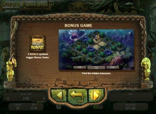 Правила бонусной игры - в аппарате Diego Fortune