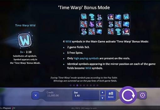 Бонусная игра в аппарате Time Warp Guardian