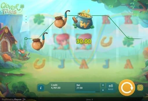 Выигрышная комбинация с диким символом в автомате Clover Tales