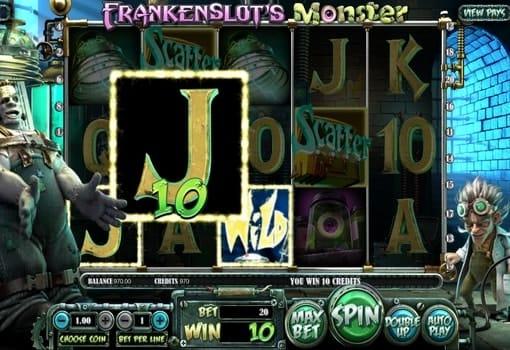 Выигрышная комбинация на линии в автомате Frankenslot's Monster