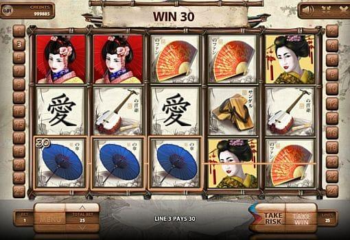 Выигрышная комбинация символов в автомате Geisha