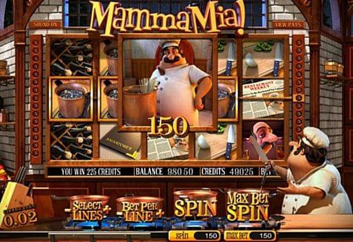 Выигрышная комбинация в автомате Mamma Mia