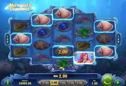 Выигрышная комбинация на линии в автомате Mermaids Diamond