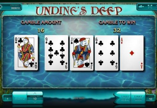 Игра на удвоение в автомате Undine's Deep