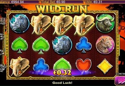Выигрыш за комбинацию на линии в автомате Wild Run