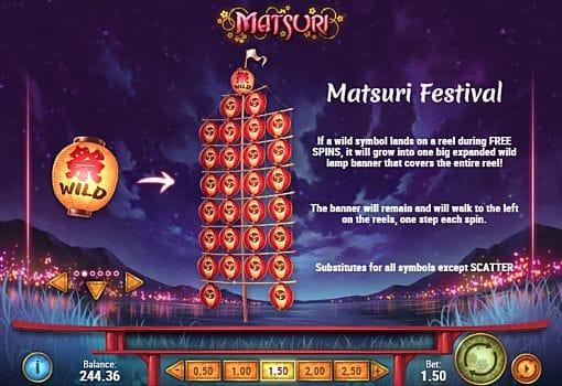 Правила фриспинов в игре Matsuri