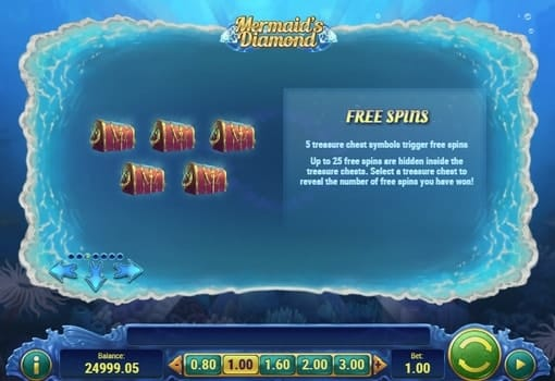 Правила фриспинов в игре Mermaids Diamond