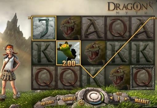 Выигрышная комбинация в игровом аппарате Dragon's Myth