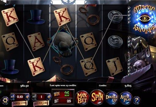 Комбинация символов на линии в игровом аппарате Magic Shoppe