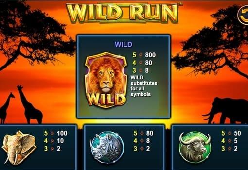 Выплаты за символы в игровом аппарате Wild Run