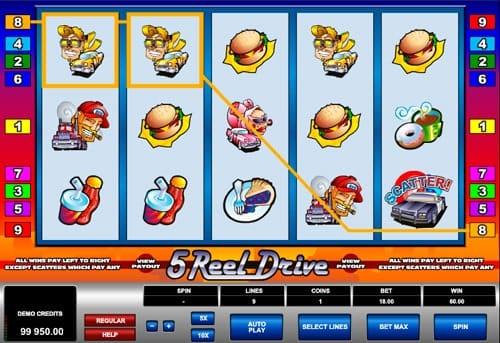 Призовая комбинация символов в игровом автомате 5 Reel Drive
