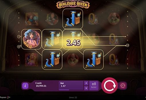 Призовая комбинация на линии в игровом автомате Burlesque Queen