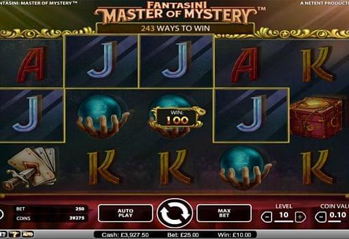 Призовая комбинация на линии в игровом автомате Fantasini Master of Mystery