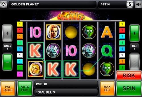 Комбинация символов на линии в игровом автомате Golden Planet