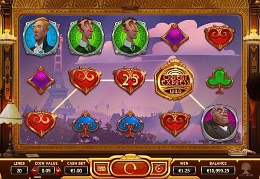 Призовая комбинация на линии в игровом автомате Orient Express