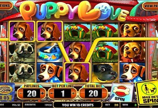Призовая комбинация на линии в игровом автомате Puppy Love