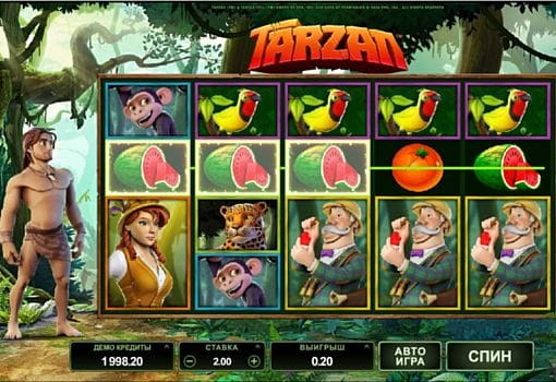 Призовая комбинация на линии в игровом Tarzan