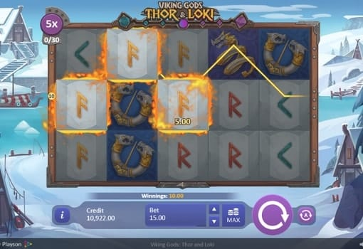 Призовая комбинация символов в игровом автомате Viking Gods: Thor and Loki