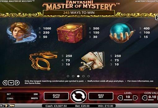 Выплаты за символы в онлайн слоте Fantasini Master of Mystery