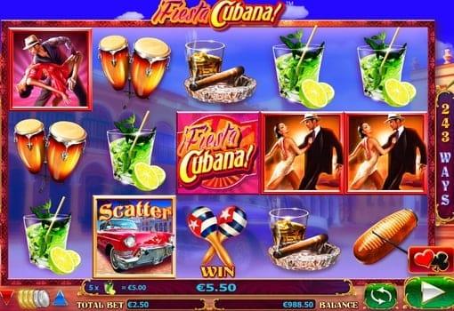Выигрышная комбинация в онлайн аппарате Fiesta Cubana