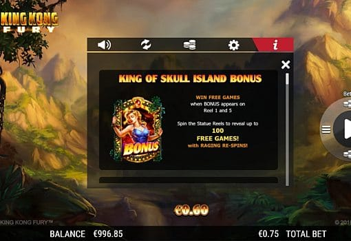 Игровые бонусы в онлайн аппарате King Kong Fury