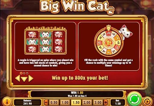Игровой бонус в онлайн слоте Big Win Cat