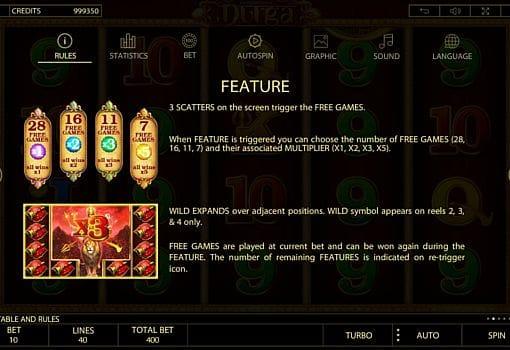 Wild и правила фриспинов в онлайн слоте Durga