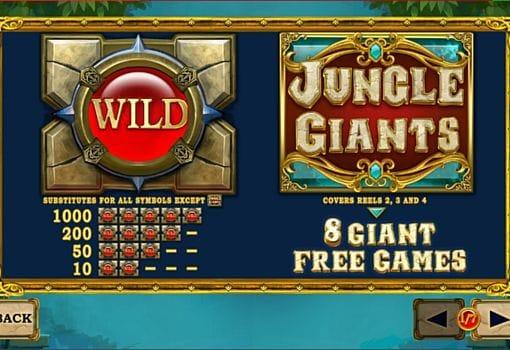 Описание знаков Wild и Scatter онлайн слоте Jungle Giants