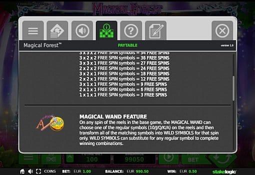Игровой бонус в слоте Magical Forest