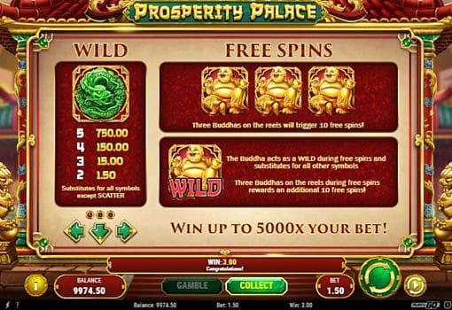 Коэффициенты Wild и фриспины в слоте Prosperity Palace